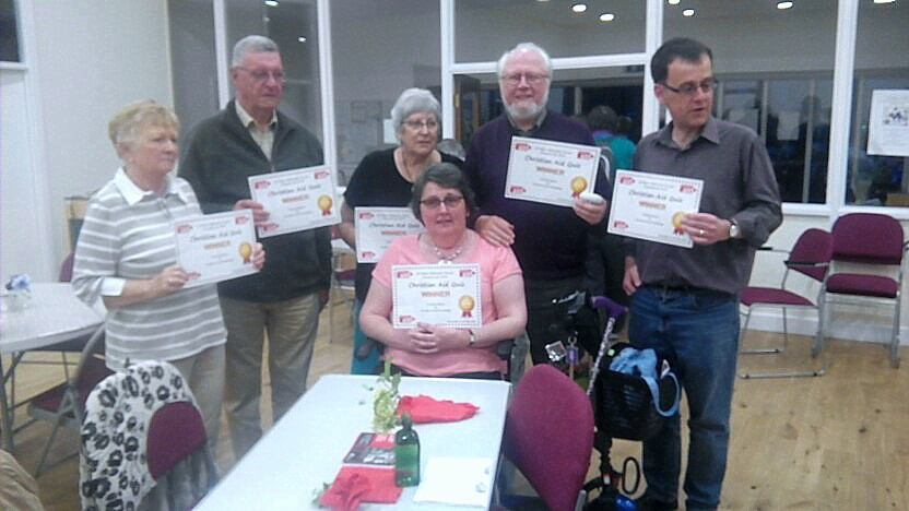 The winning quiz team, Linda and David Henderson, Jean and Peter Bedford and Chris and Heather Holmes