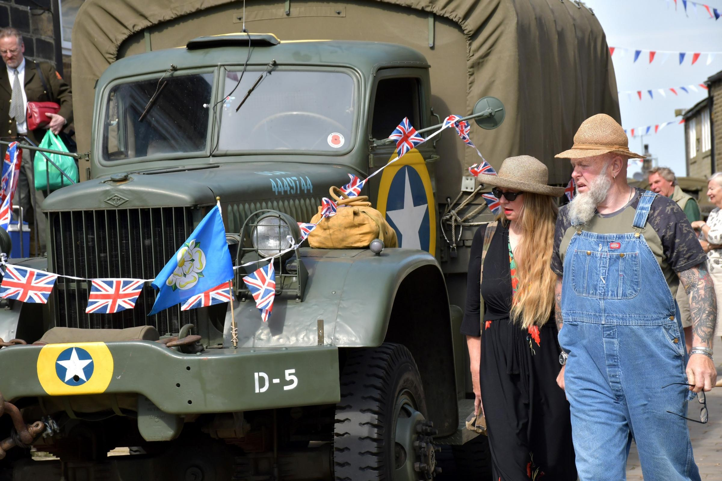 Visitors and a military vehicle in Haworth during last month's 1940s Weekend