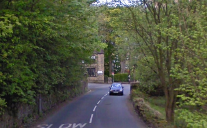 Looking down Denholme Road, Oxenhope, shortly before it links up with Station Road. Image from Google Street View.