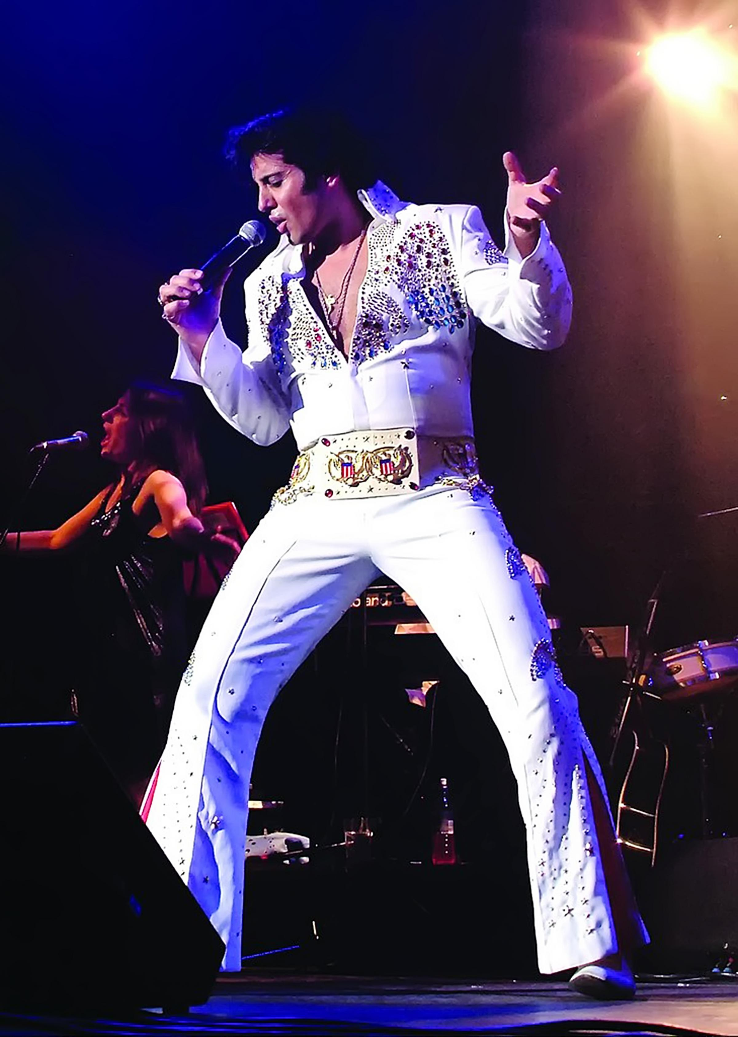 Mario Kombou plays Presley in tribute show The Elvis Years at the King's Hall in Ilkley.