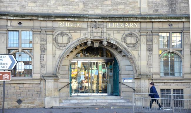 The main entrance to Keighley Library, in North Street
