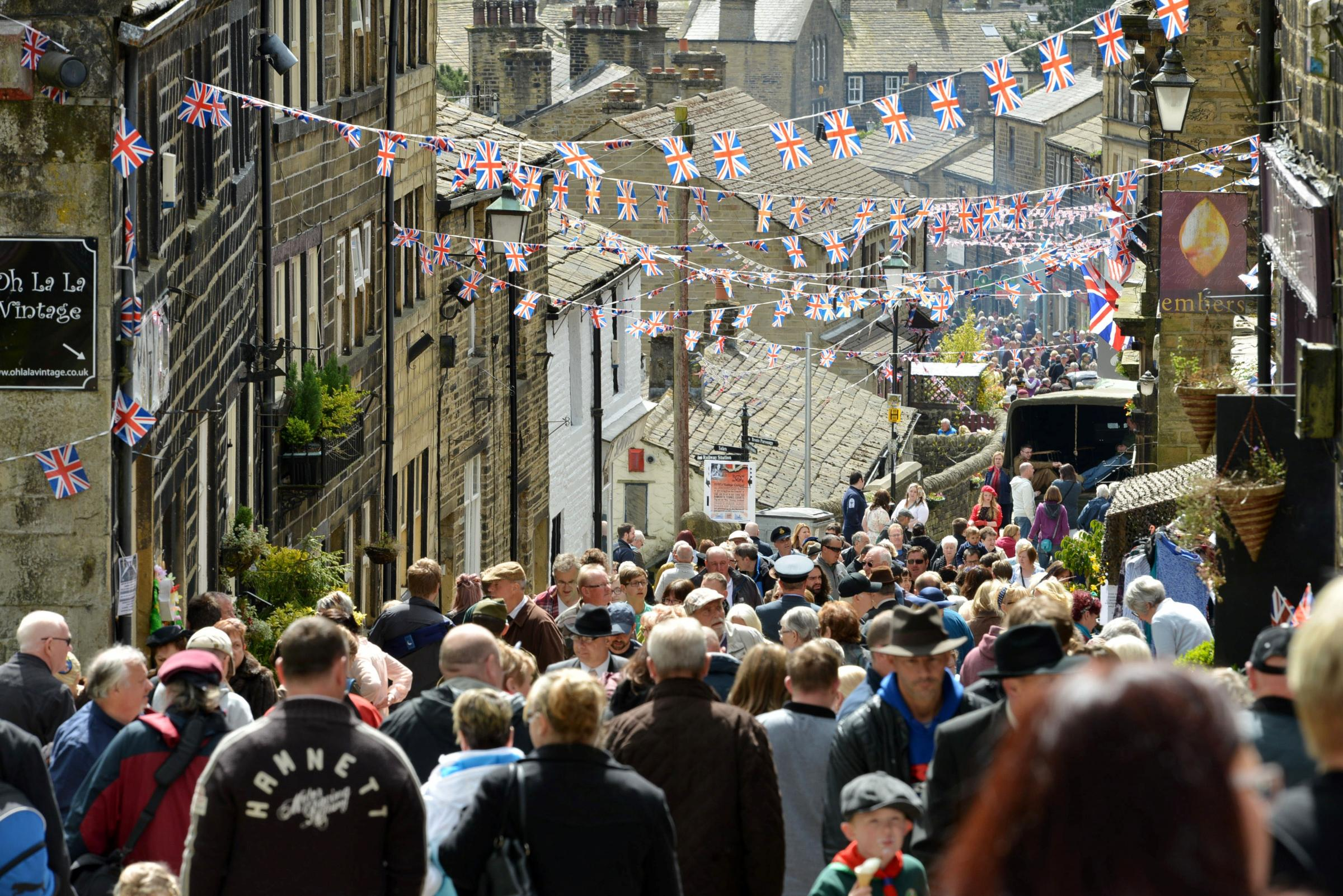 A packed Haworth Main Street during a previous 1940s Weekend