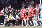 FEISTY: Both sets of players get involves in brawl which lead to York City Knights' Tim Spears and Keighley Cougars' Brad Nicholson getting 10 minutes in the sin bin. Picture: Gordon Clayton
