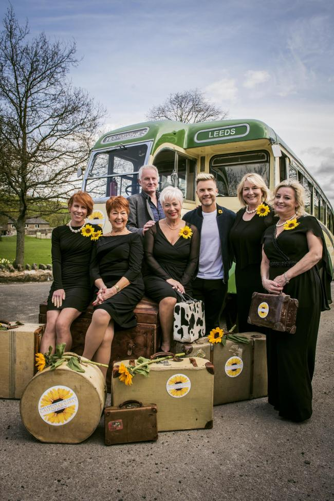 The cast of Calendar Girls The Musical with Tim Firth and Gary Barlow