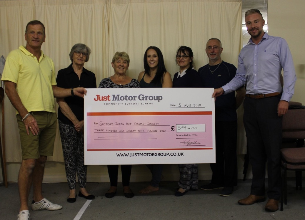 Just Motor Group of Cross Hills have given a grant to Sutton's Green Hut Theatre Company to buy a shed to store scenery.