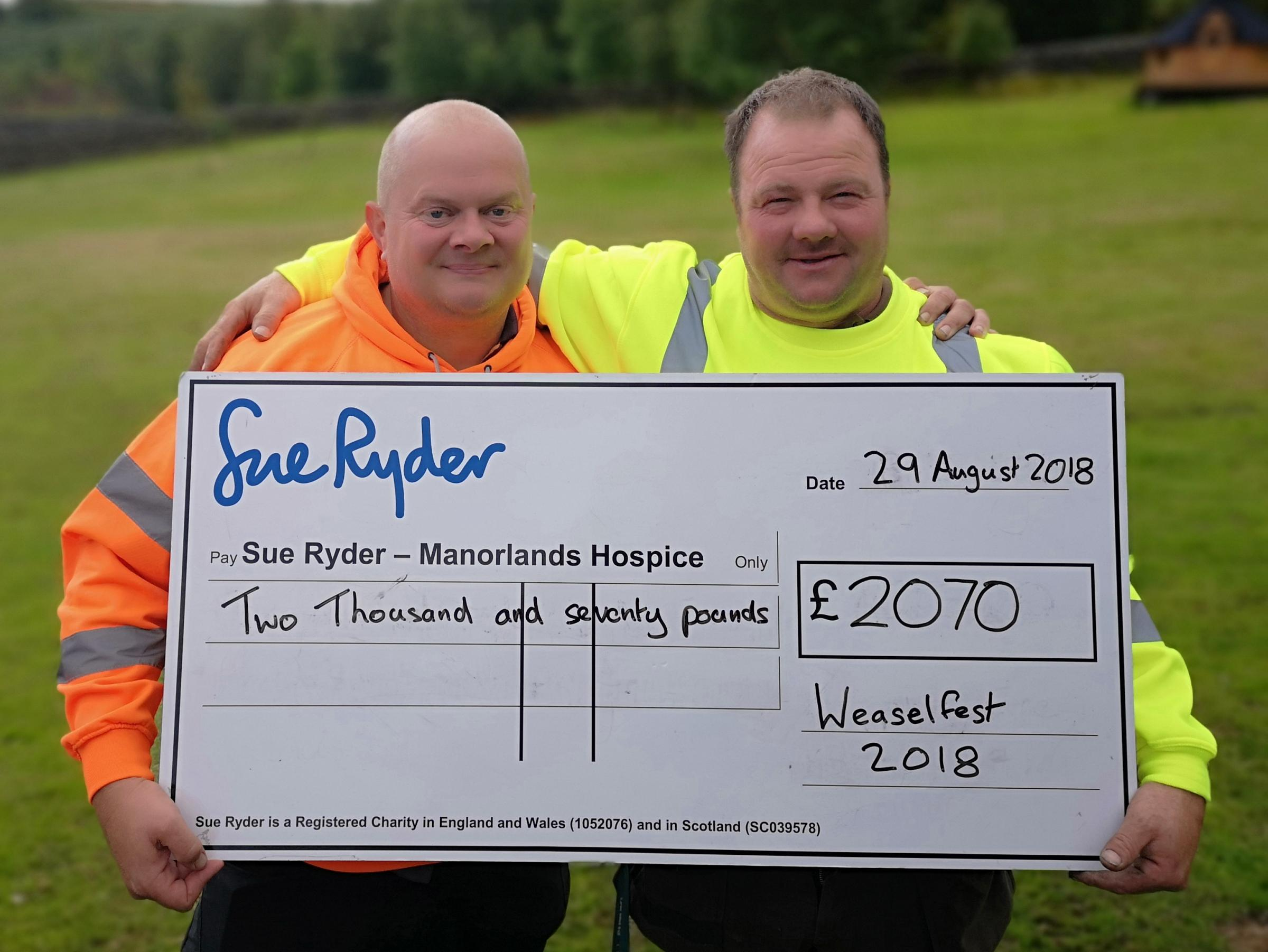 Stuart Currie and Mick Dowse with their cheque for Manorlands