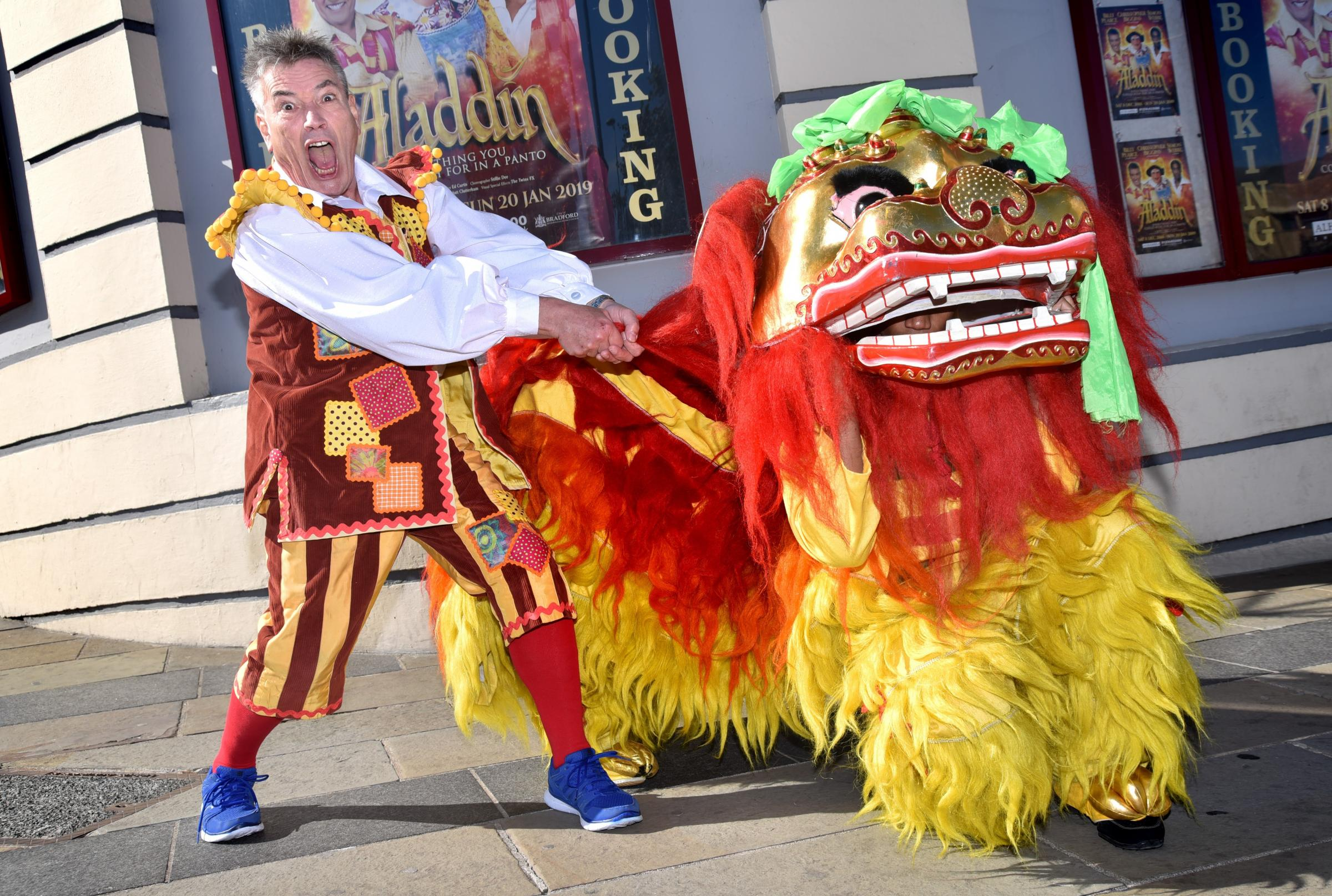 The Cast of the 2018 Bradford pantomime Aladin ..Walking the Dragon is Billy Pearce as Aladin's brother.