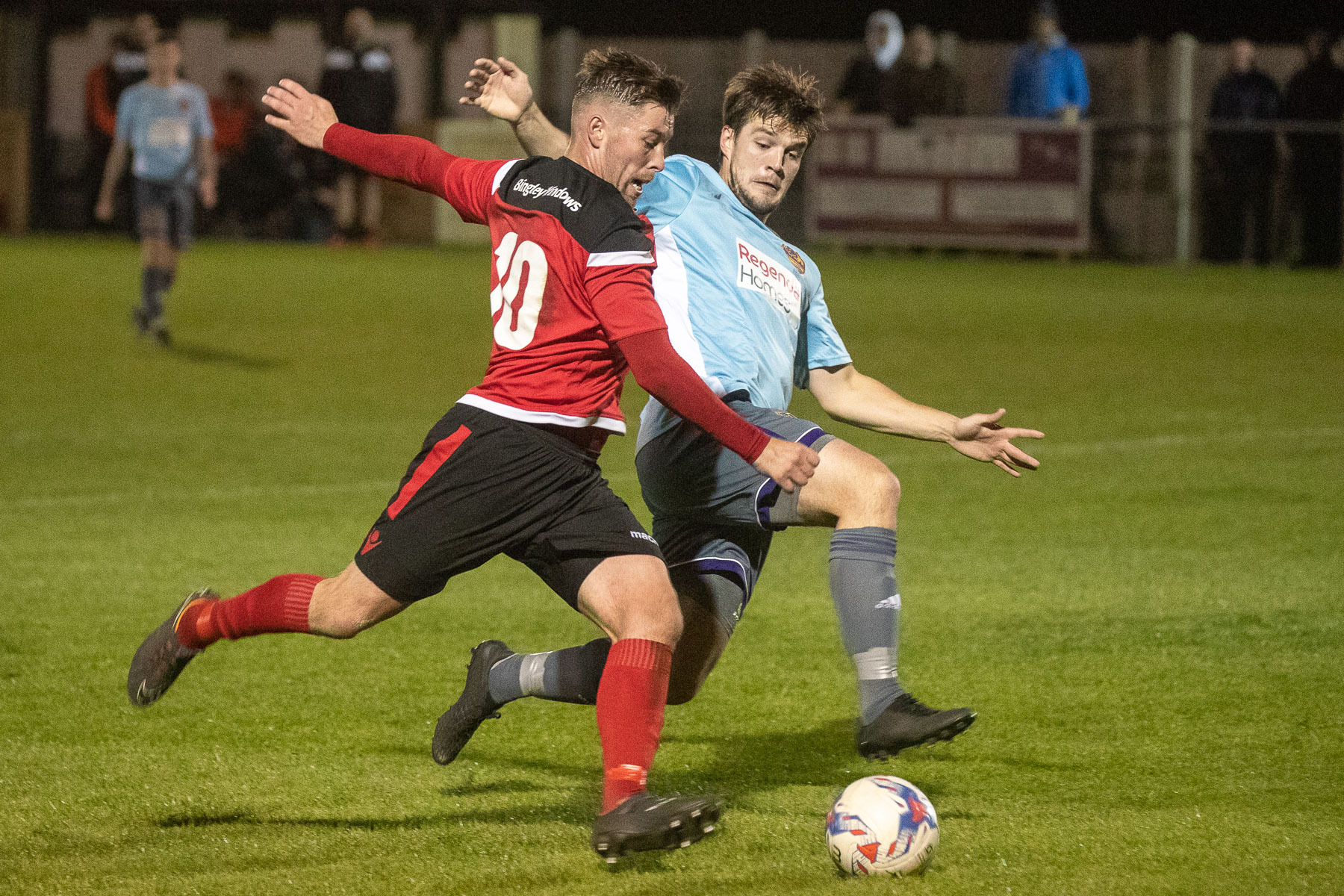 Aidan Kirby, front, was among the scorers for Silsden in their 2-2 draw with Staveley Miners Welfare. Picture: David Brett