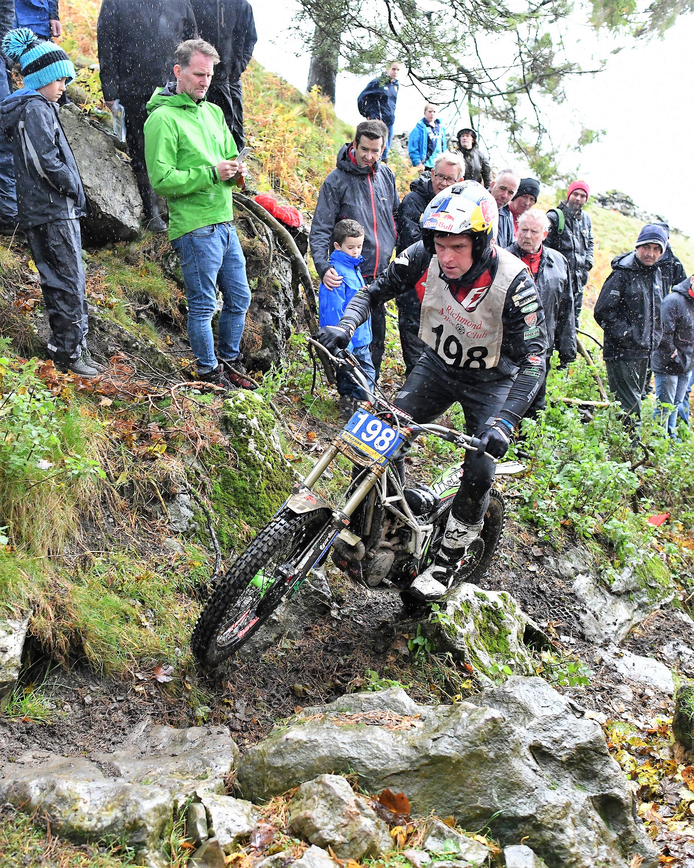 Dougie Lampkin won the Scott Trial for a sixth time and is thought to be the oldest winner aged 42. A total of 60 per cent of the entry failed to finish in terrible conditions. Picture: Eric Kitchen