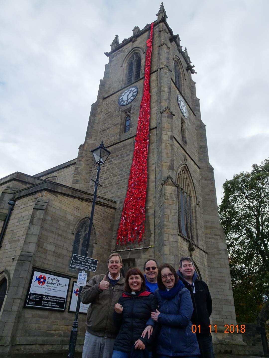 Keighley Shared Church with its poppy display, from left, back, Howard Carter, Andrew Parfitt, James Bailey, front, Rev Natasha Thomas, Rev Tracey Raistrick