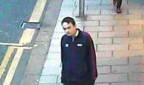 A CCTV image of the man British Transport Police want to trace in connection with stalking incidents reported between Keighley and Leeds