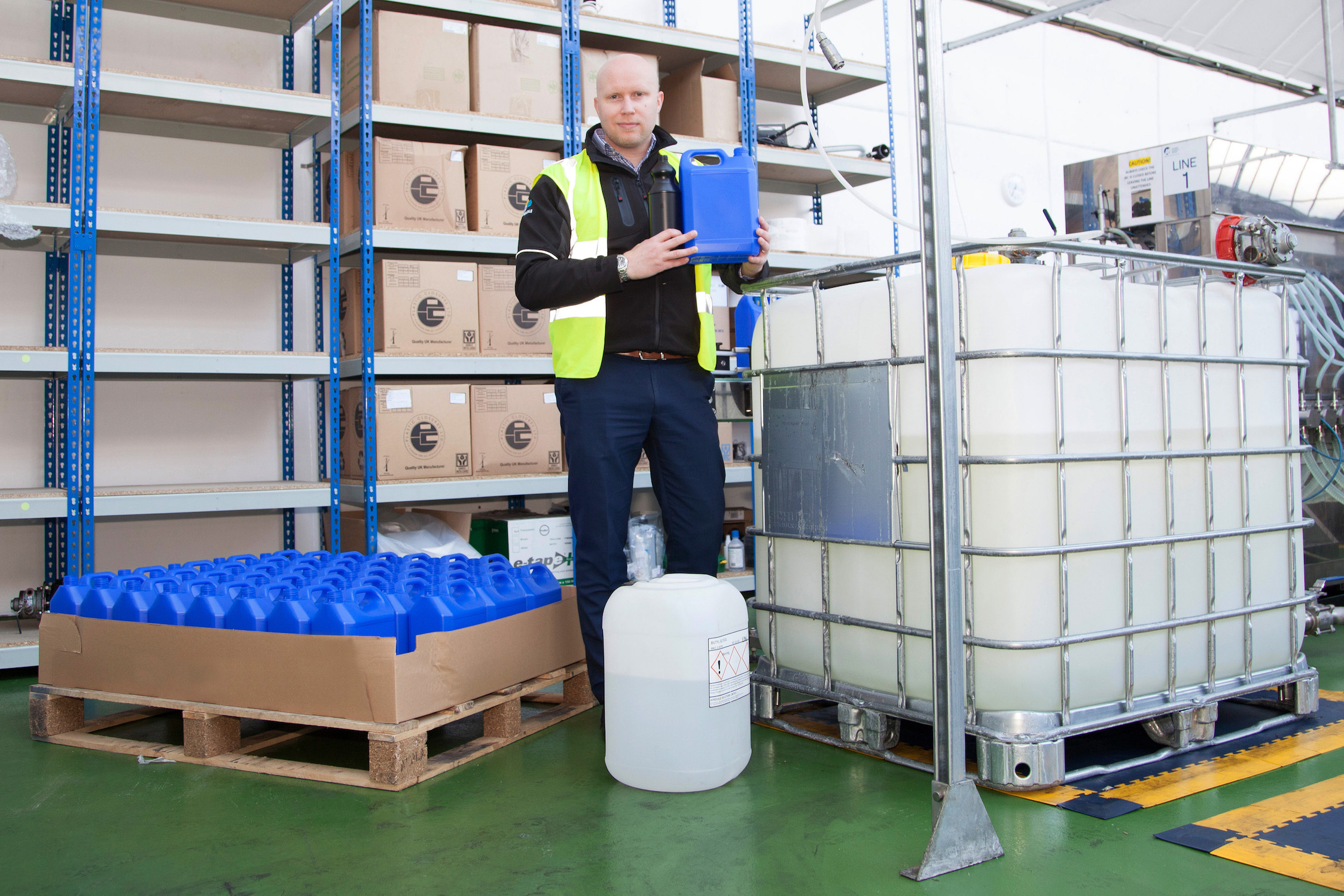 Daniel Marr, of Airedale Chemical, with the smaller industrial chemical packaging