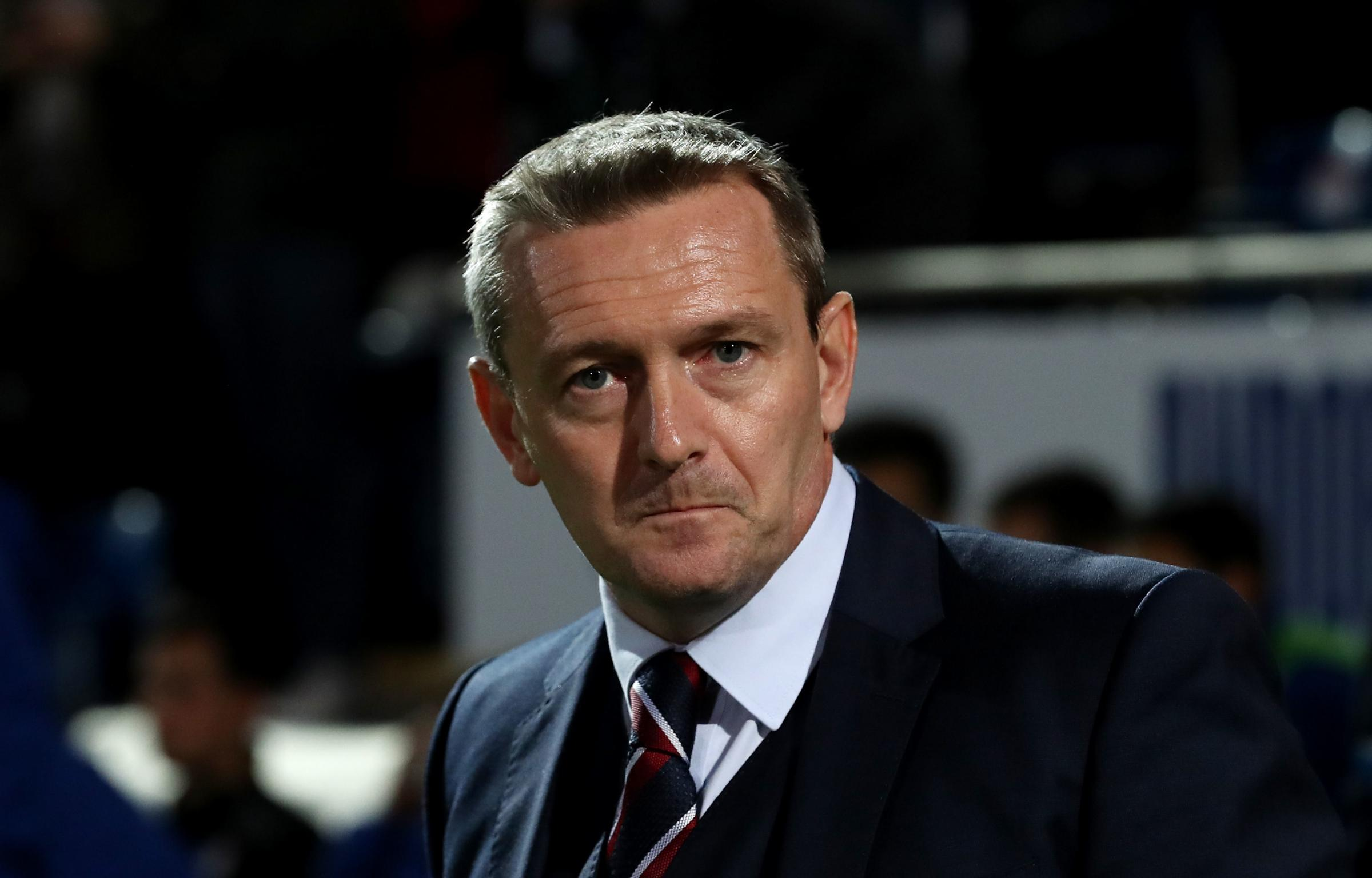 England U21 head coach Aidy Boothroyd during the UEFA European Under-21 Championship Qualifying, Group 4 match at the Proact Stadium, Chesterfield. PRESS ASSOCIATION Photo. Picture date: Thursday October 11, 2018. See PA story SOCCER England U21. Photo cr