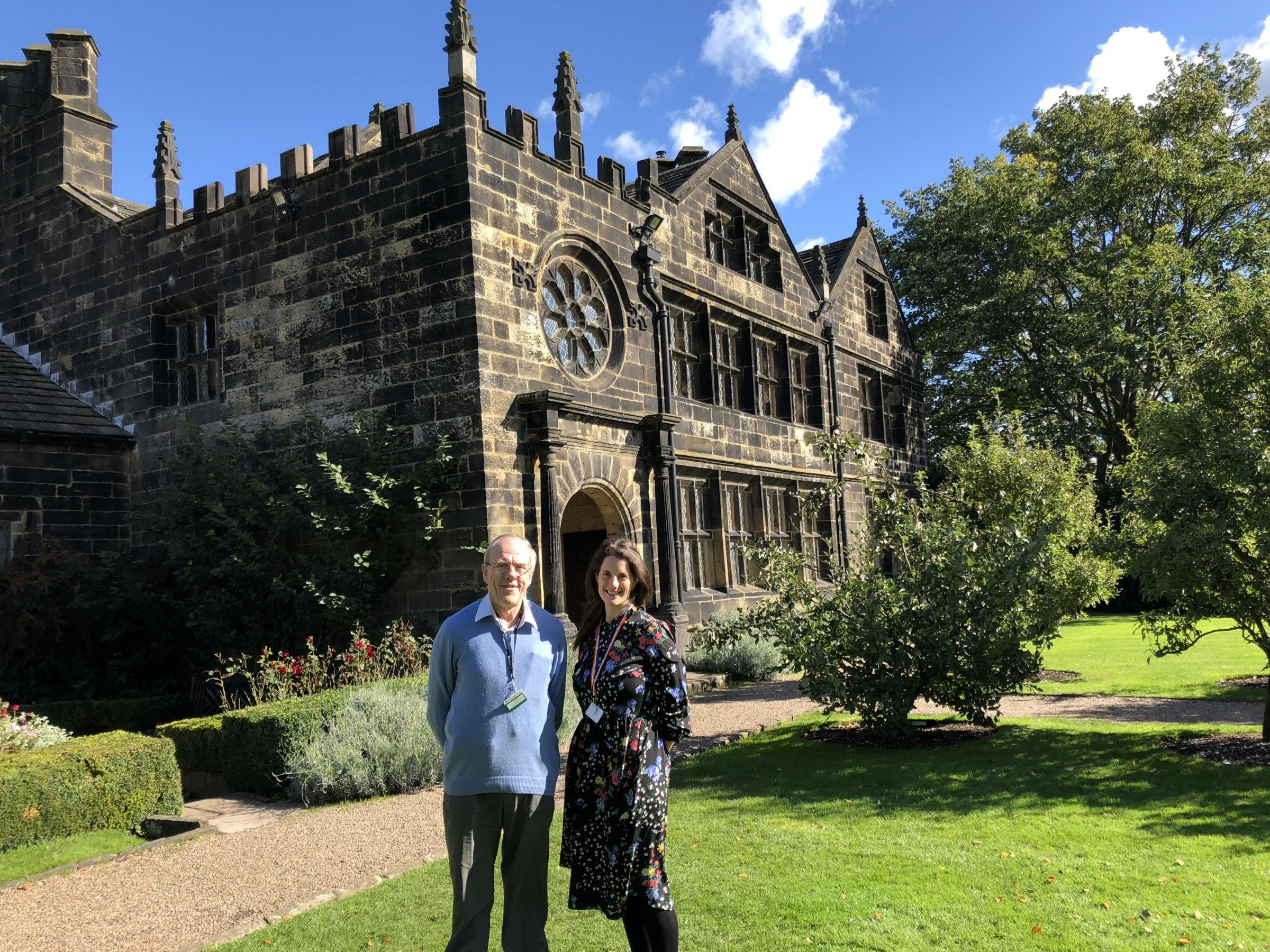 Stephen Webb outside East Riddlesden Hall where he has been a volunteer for 30 years, with Emily Taylor, Volunteer and Community Manager. Picture by Bryan Walkden