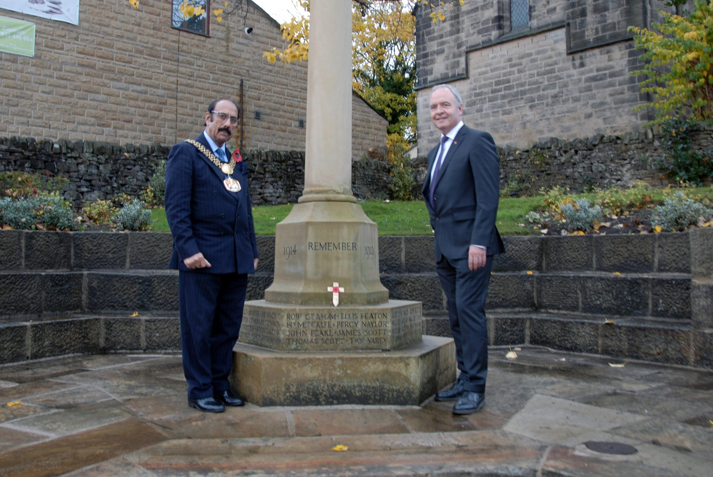 The Lord of Bradford, Cllr Zafar Ali, at Harden war memorial with parish council chairman Councillor Gerwyn Bryan attended a special event at Harden War Memorial.