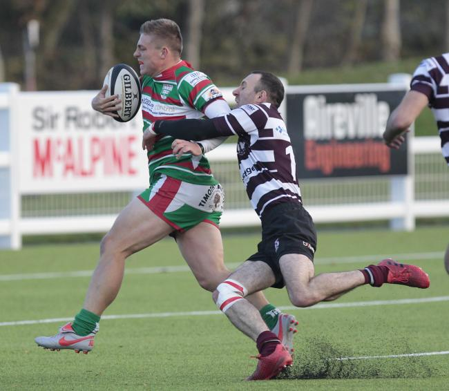 Jake Duxbury scored a try in Keighley's 18-13 win at Old Crossleyans in Yorkshire Division One. Picture: Charlie Perry