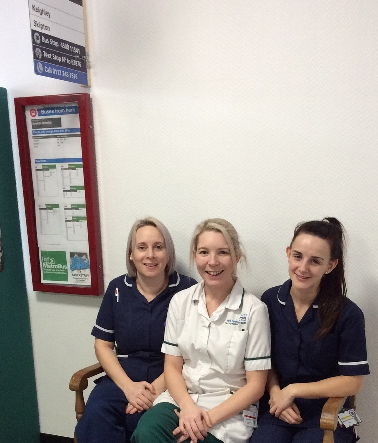 From left, ward manager Laura Brady, senior occupational therapist Emily Sale and sister Niamh Swinburne at the indoor bus stop for dementia patients