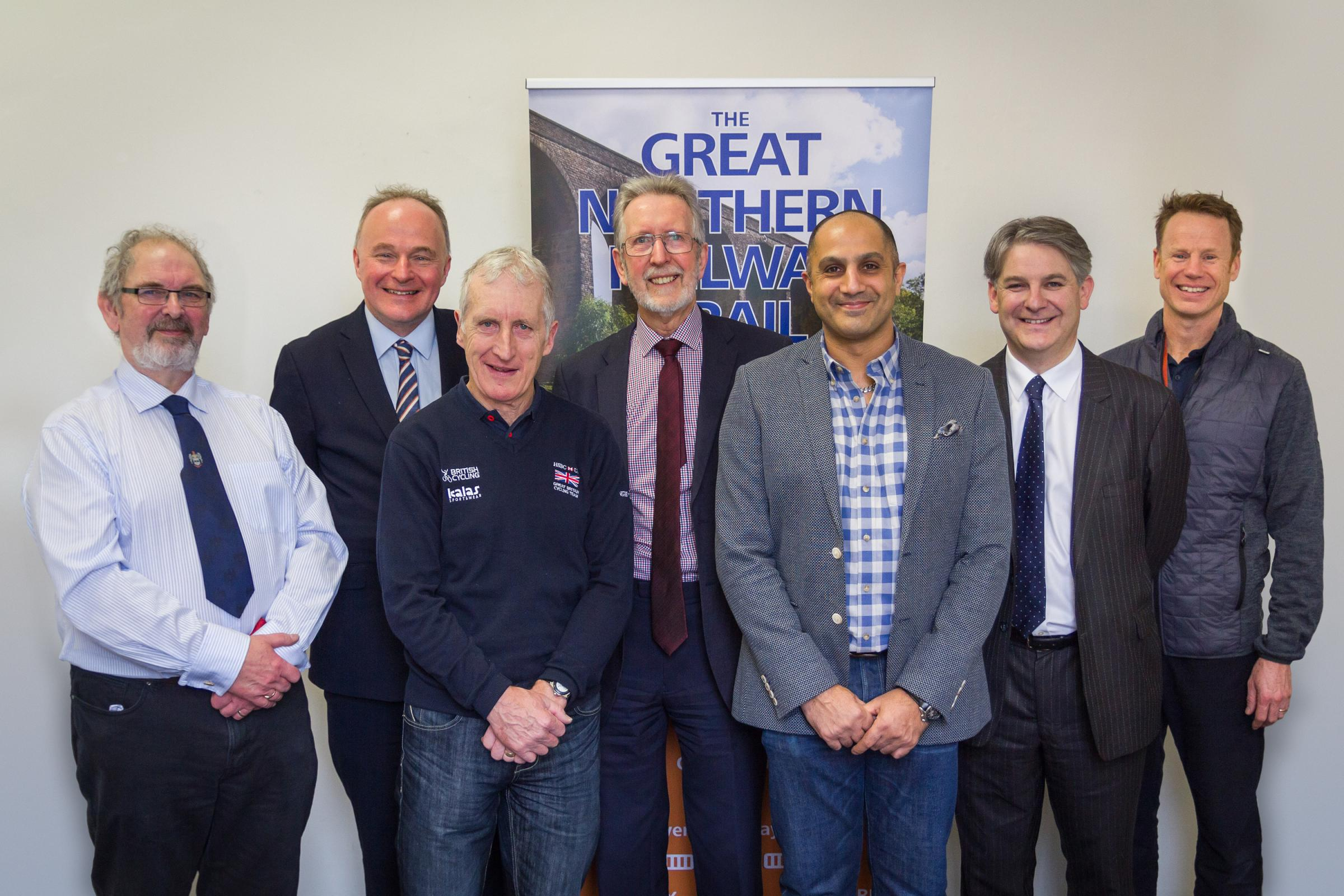 John Grogan, second from left, and Philip Davies, second from right, with members of the Great Northern Railway Trail joint committee