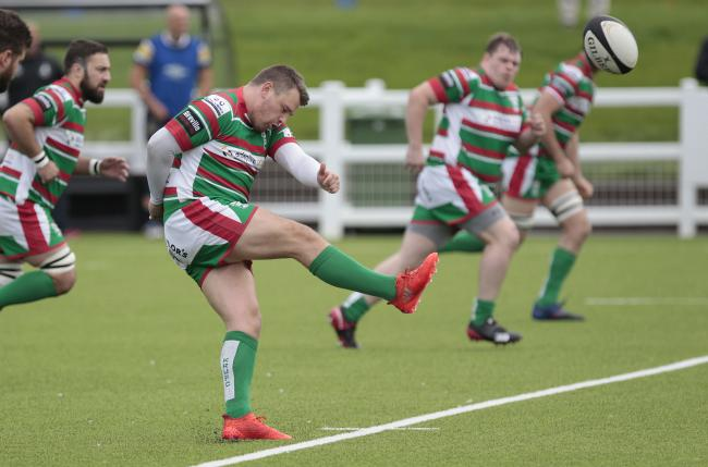 Alex Brown, fronmt, starred with his boot, scoring a penalty try in Keighley's defeat. Picture: Charlie Perry