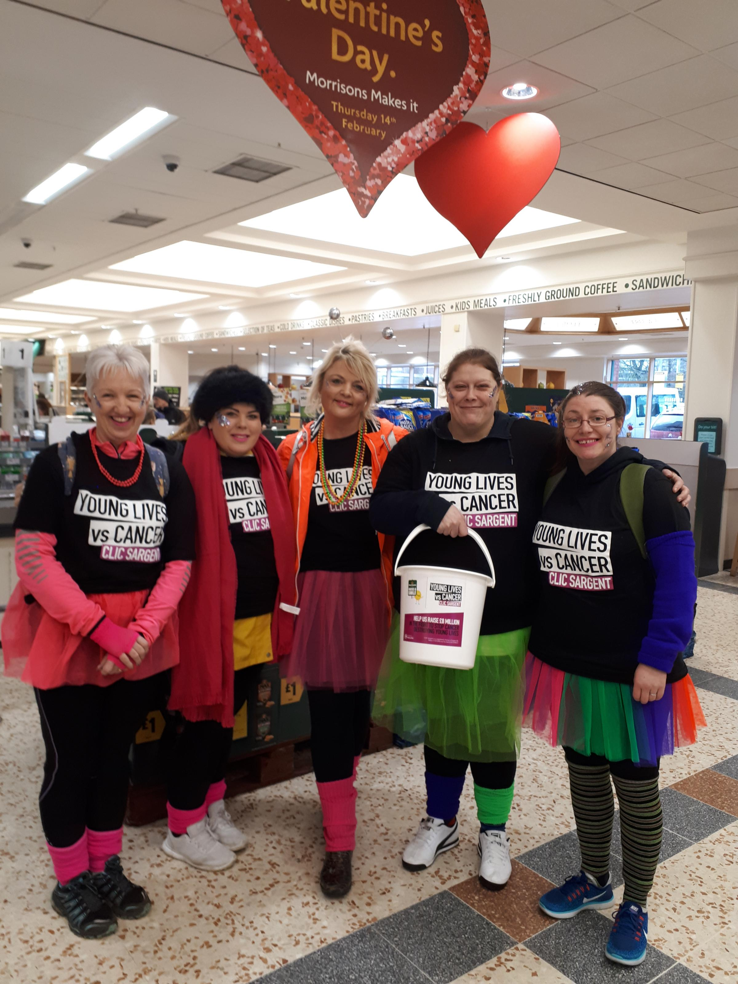 Morrisons staff who walked from Keighley to Skipton to help youngsters with cancer. From left, Diane Barker, Nicole McGuinness, Alison Emmott, Leanne Wilson and Claire Wilson.