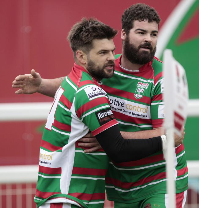From left, Richard Tillotson and Sean kelly both scored tries for Keighley in their 65-21 defeat at Moortown in Yorkshire Division One. Picture: Charlie Perry