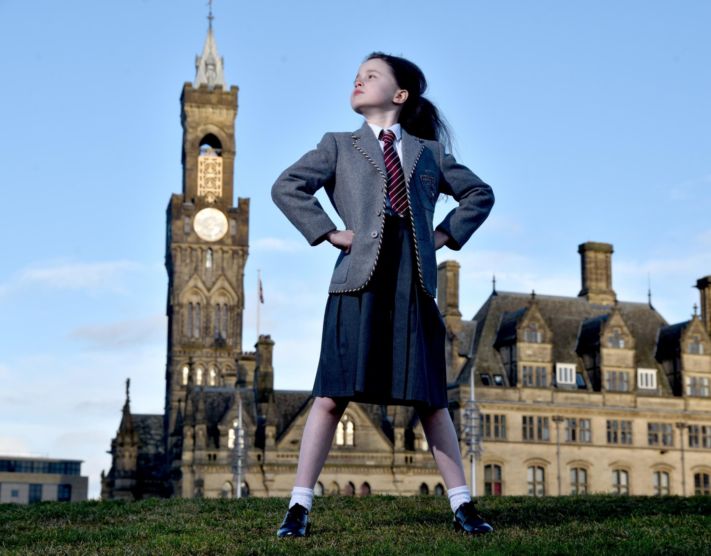 Sophia Ally, one of four young actresses sharing the role of Matilda the Musical, at the Alhambra for a month.