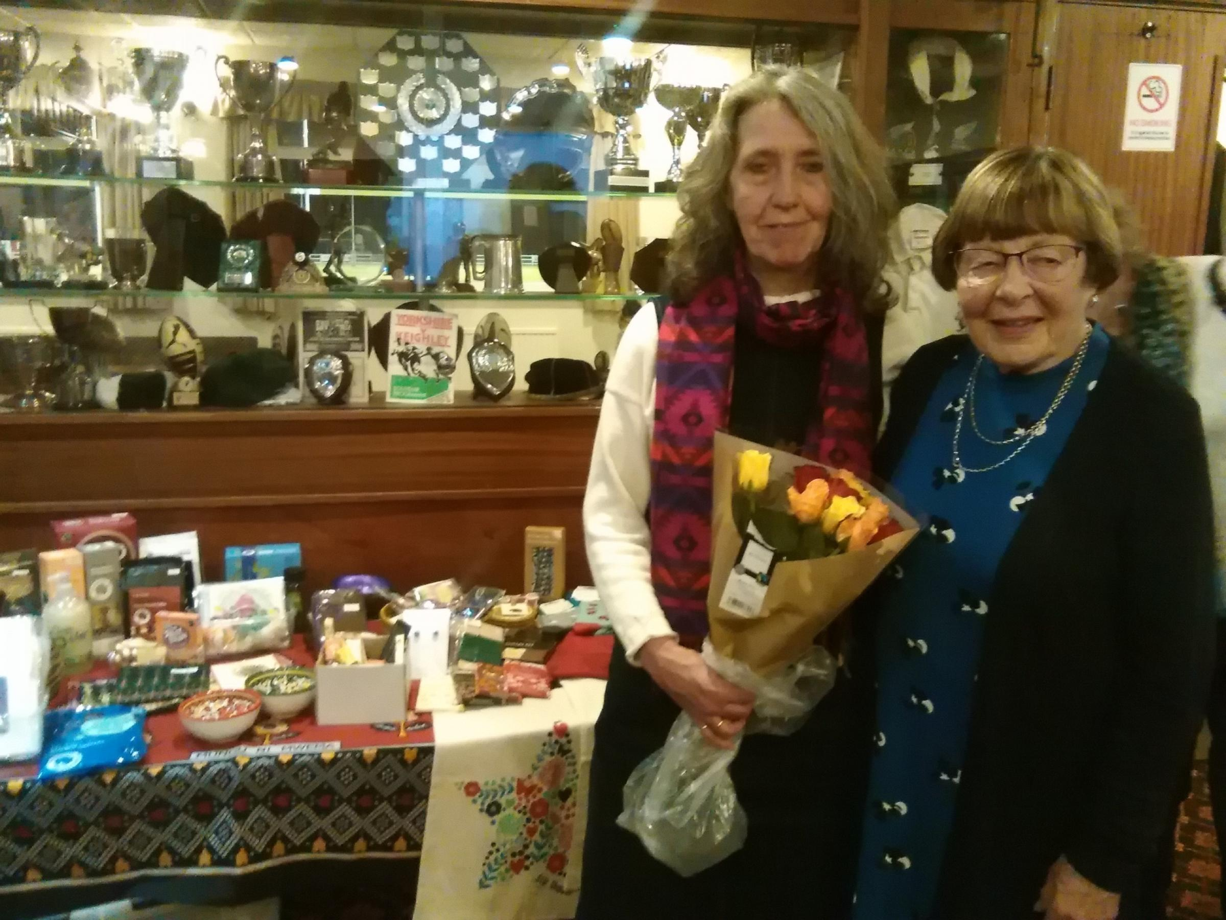 Speaker Hilary Davies, left, with Keighley Soroptimists president Edith Sanderson