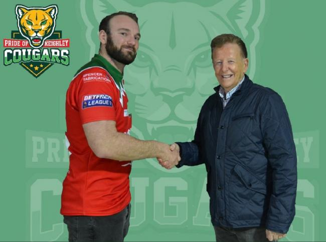 From left, Keighley Cougars' new signing Matt Nicholson is welcomed to the club by chairman Mick O'Neill. Picture: Keighley Cougars Twitter