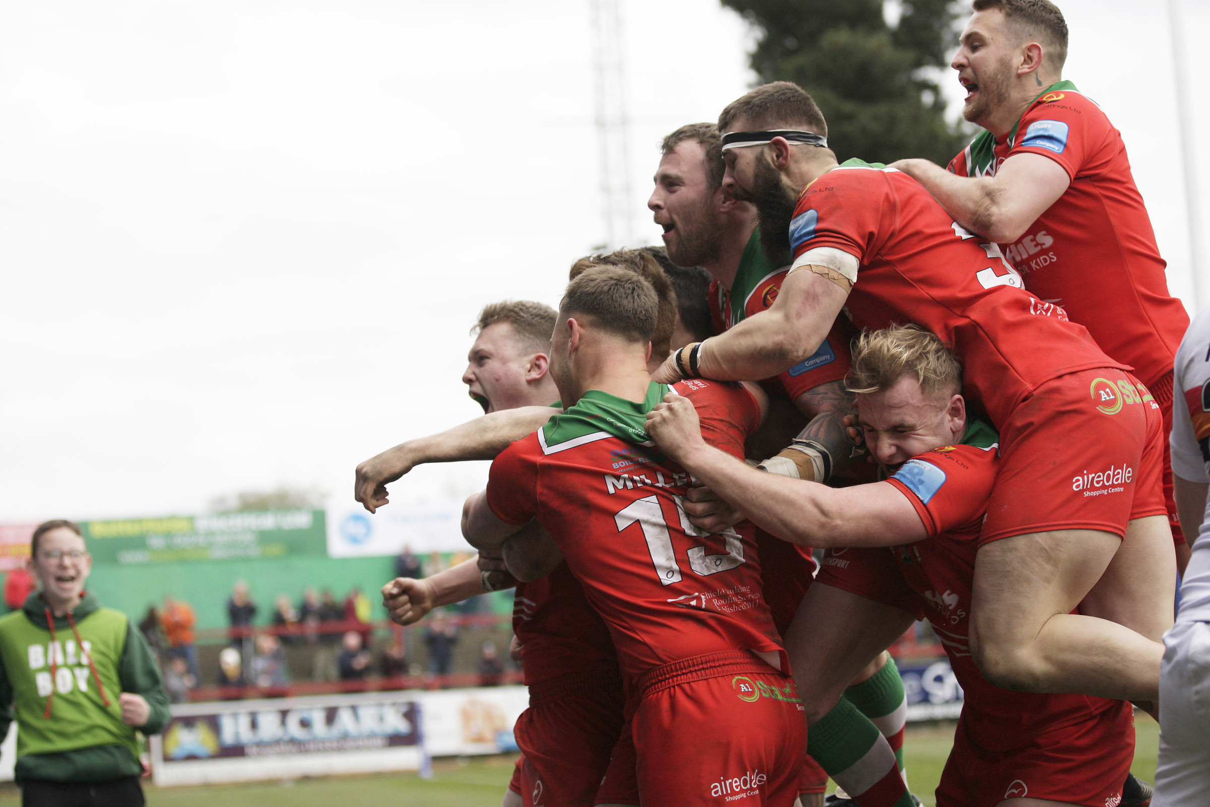 Cougars hope to be celebrating when they face Doncaster at Cougar Park on Good Friday. Picture: Charlie Perry