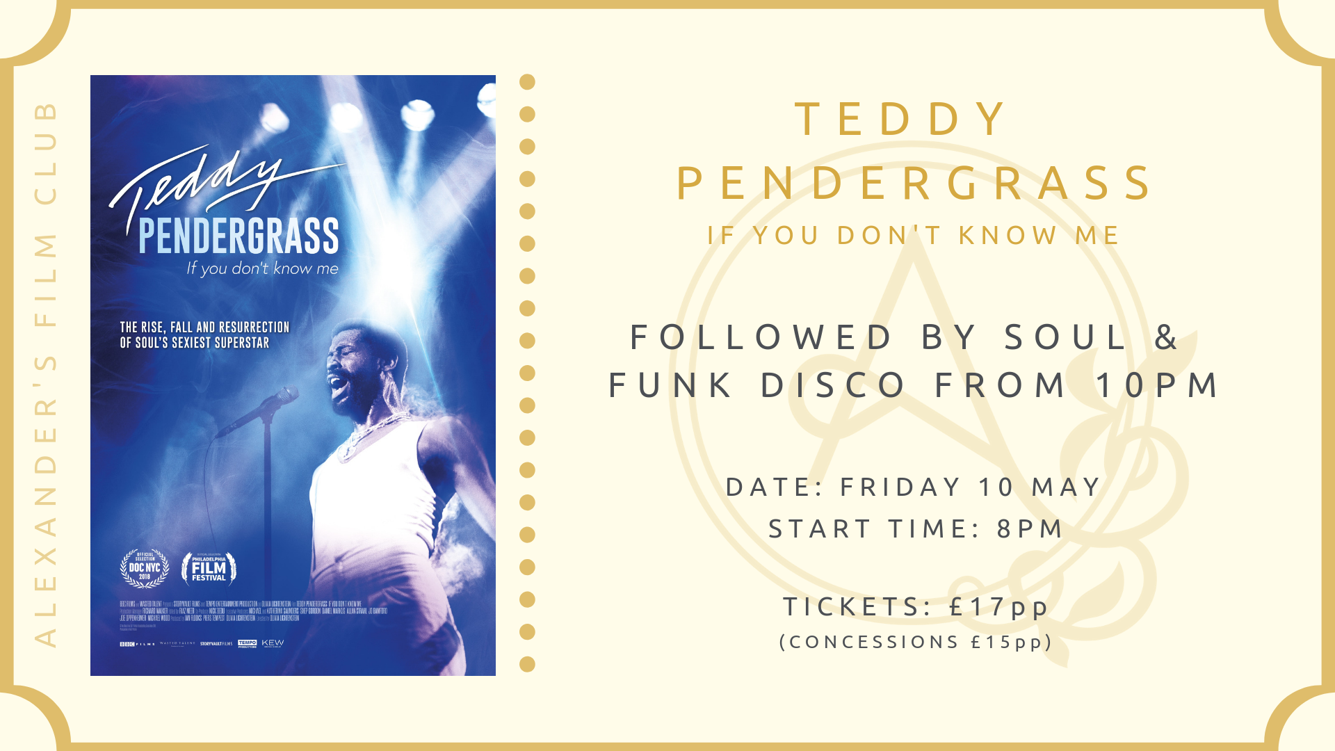 The Alexander's Film Club - 'Teddy Pendergrass: If you don't know me' screening & Soul & Funk Disco