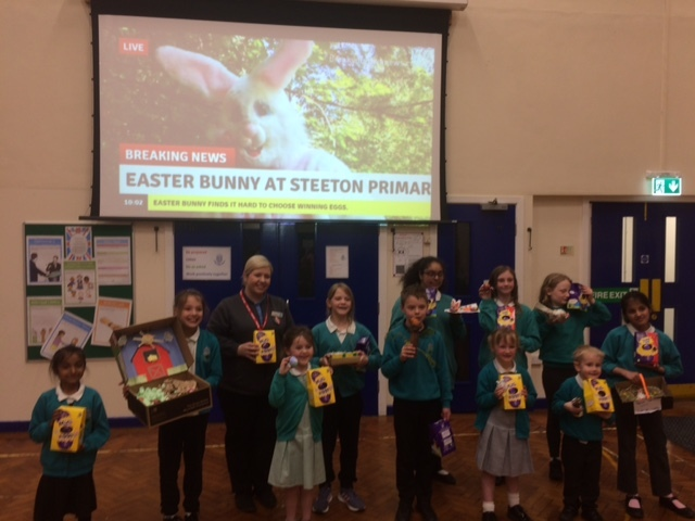 The Easter Bunny could be seen by Steeton Primary School children