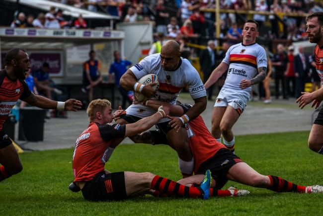 Jake Webster, middle, has left Bradford Bulls to sign for Keighley Cougars, according to chairman Mick O'Neill. Picture: Tom Pearson