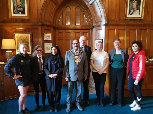 A group of Keighley sportswomen meet then Lord Mayor of Bradford Councillor Zafar Ali and Keighley MP John Grogan