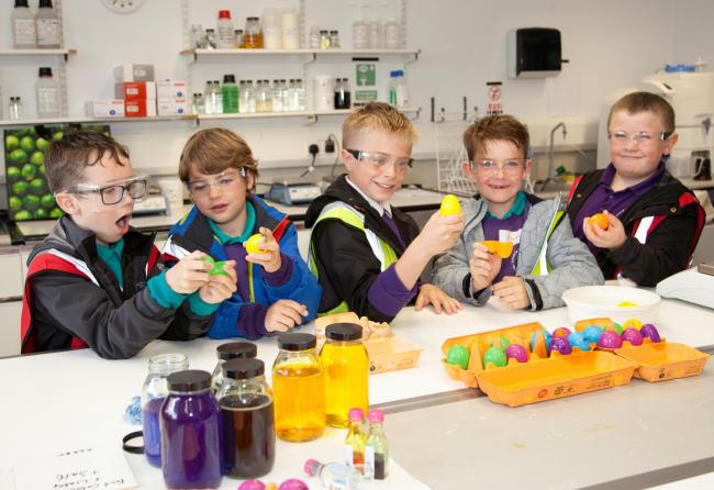 Sutton pupils take part in an experiment during a visit to Airedale Chemical