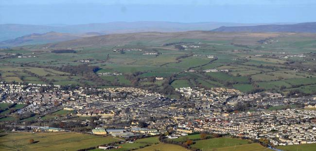 An aerial view of Silsden in the Aire valley