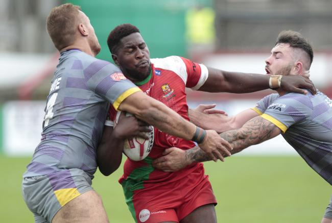 Jose Kenga - pictured playing for Cougars against Newcastle Thunder - claims he was racially abused by Toronto owner David Argyle Picture: Charlie Perry