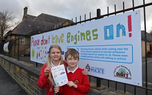 Saskia Tomlinson 10 and Jake Waddington 7 from Myrtle Park Primary at the launch of the school's No Idling campaign earlier this year